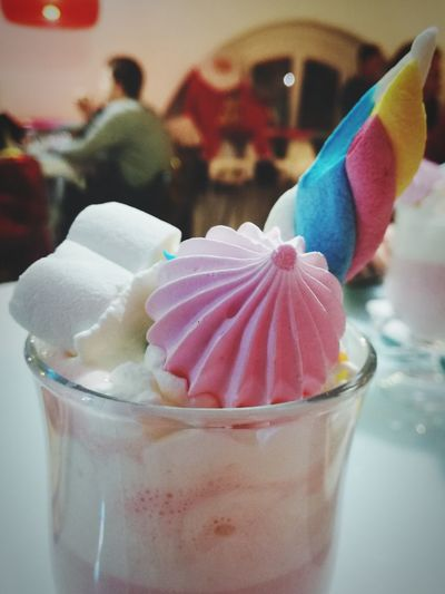 unicorn hot chocolate Hot Chocolate Unicorn Dessert Sugar Sugarshop Sugar Shop Sweet Rosé Color Colors Sweet Food Food And Drink Drinking Glass Food Dessert Indoors  Drink