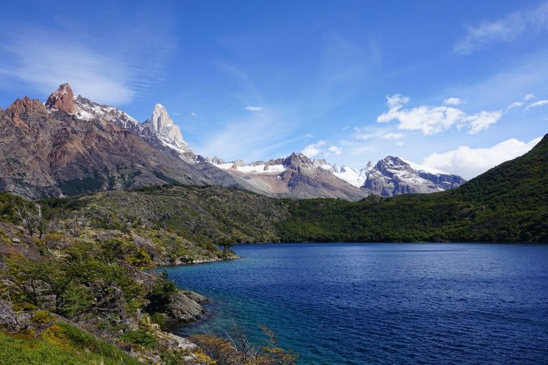 Blue lake in Los Huemules reserve, Patagonia, Argentina. Argentina Beauty In Nature Blue Blue Lake El Chalten Fitz Roy Fitzroy Hiking Lake Landscape Los Huemules Mountain Mountain Peak Mountain Range Nature Outdoors Patagonia Scenics Snow South America Travel Trekking Vacations Water