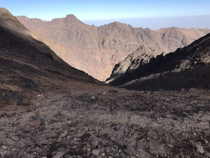 View of Atlas Mountains, Morocco. Atlas Mountain Morroco Hiking No People Copy Space Journey Landscape Mountain Scenics - Nature Beauty In Nature Mountain Range Non-urban Scene Mountain Peak Arid Climate Extreme Terrain Remote Physical Geography Sunlight And Shadow Formation Rock Geology Outdoors Tranquil Scene Idyllic Sunset