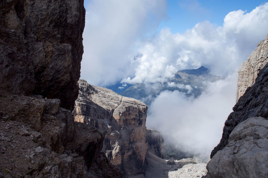 Dolomites, Brenta, Italy Beauty In Nature Brenta Cloud Cloud - Sky Cloudy Day Dolomites Eroded Geology Idyllic Landscape Low Angle View Mountain Nature No People Outdoors Physical Geography Rock Rock - Object Rock Formation Rocky Rocky Mountains Scenics Sky Tranquility