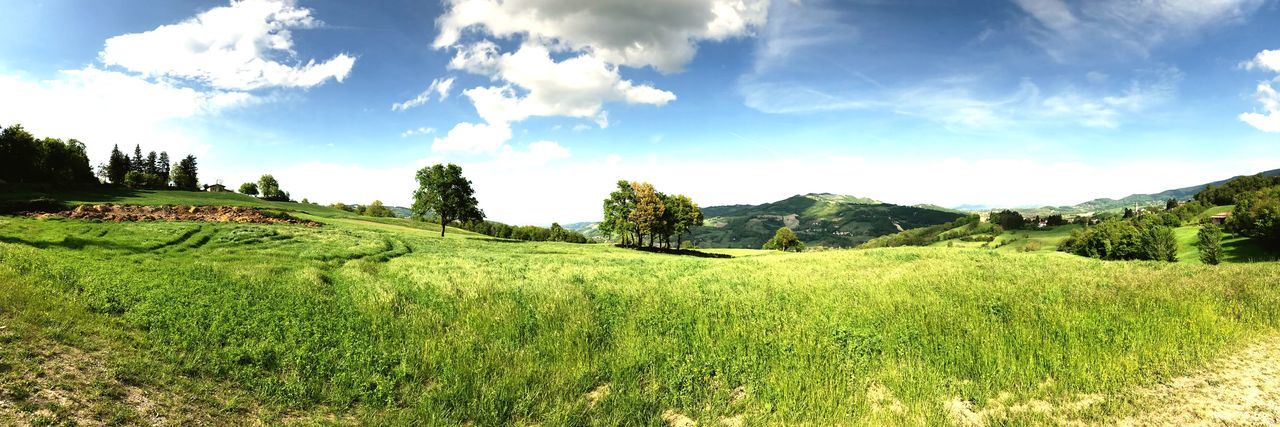 Nature Beauty In Nature Agriculture Sky Green Color Cloud - Sky Mountain Day Natura Tranquility Cielo Blue Sky Prato First Eyeem Photo