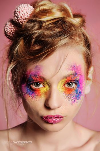 Sweet Sweetwoman Sugar Colors colour of life Colourful Color Portrait Blond Hair Blonde Blue Eyes Beauty Eyelash Human Face Beautiful People Eye Make-up Human Lips Pink Lipstick  Lipstick Make-up