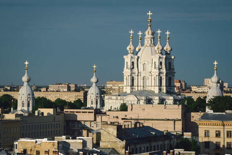 View of cathedral in city against sky