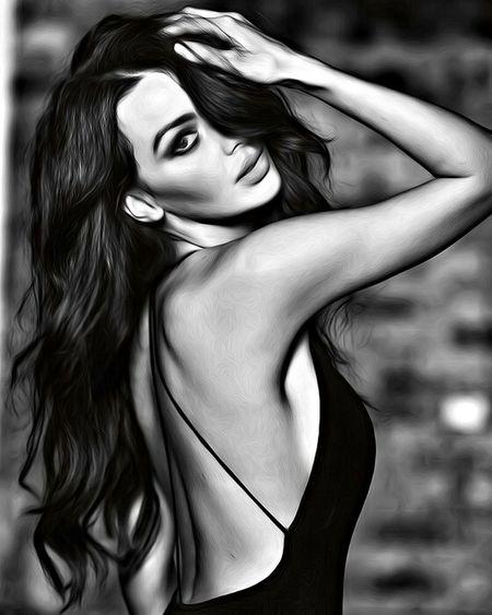 Digital Painting Sensualwoman Beauty Fashion Sensualblackandwhite