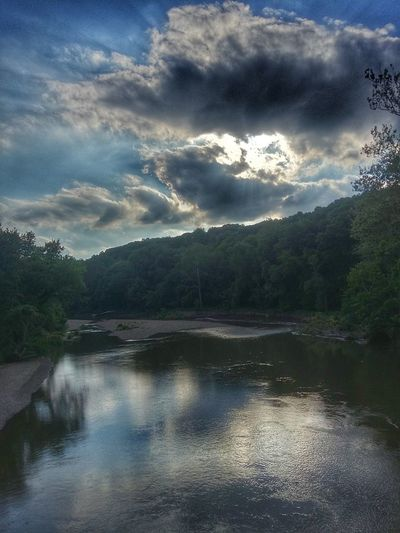 Evening sun over Sugar Creek River Creek Riverscape Skyscape Water And Sky Evening Sun Sun Dramatic Lighting Scenic Over The Water River Bank  Reflection Reflections In The Water Sky Reflection Large Reflection Feel The Journey Original Experiences Fine Art Photography