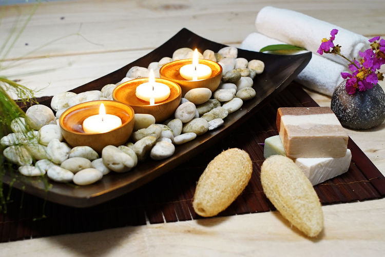 Spa and Wellness Decorations ideas for therapy and relaxation Aromatherapy Aromatic Plants Body Massage Herbal Massage Herbs Natural Soap Nature Treditional Thai Massage Wellness Aroma Oil Aromatherapy Oil Aromatic Herb Bath Towels Candlelight Healthy Lifestyle Natural, Oil Therapy Pebbles And Stones Scented Candles Scented Flowers Scented Salt Spa Spa Decoration Spa Ideas Wellbeing