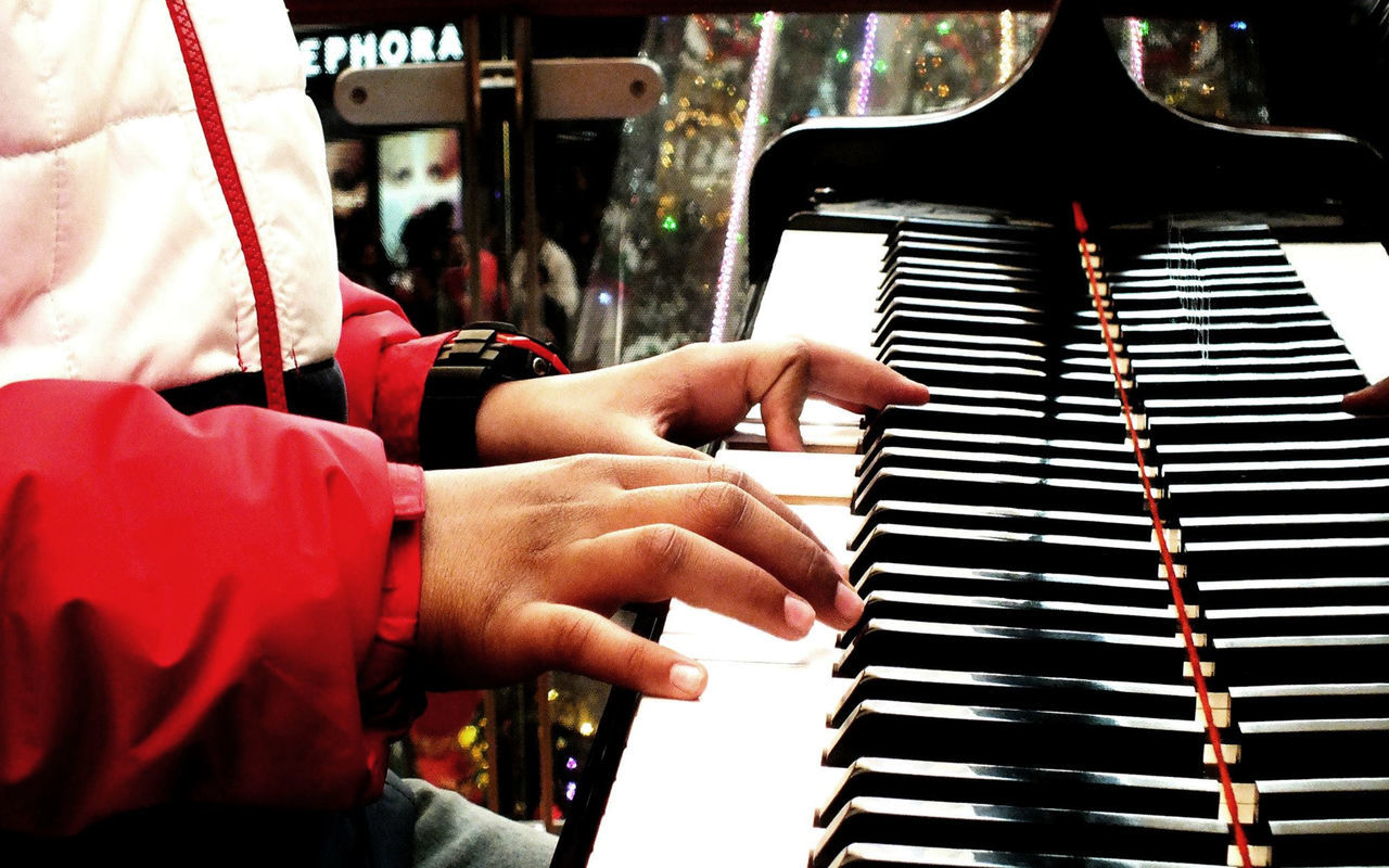 music, musical instrument, piano, piano key, human hand, musical equipment, playing, arts culture and entertainment, real people, human body part, pianist, musician, skill, one person, performance, indoors, close-up, keyboard, day, people