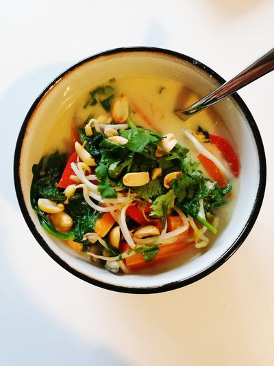 Soup Food And Drink Healthy Eating Bowl Food No People Indoors  Soup Bowl High Angle View Ready-to-eat Freshness Vegetable Soup Close-up Day White Background Vegetarian Food Main Course Indoors  Directly Above Freshness Healthy Lifestyle Vegetable Food And Drink Veggie A fresh asian soup. Food Stories