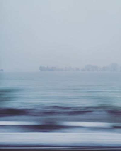 Sea Water Beach Fog Backgrounds Abstract Blue Multi Colored Sky Horizon Over Water Snowcapped Snow Covered