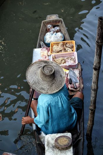 High angle view of a floating market