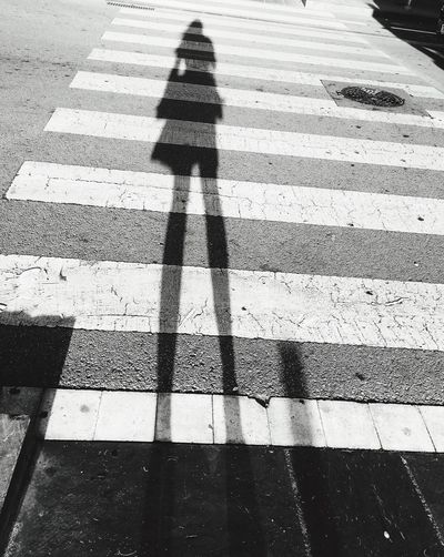 Monochrome Photography Monochrome Blackandwhite Street Shadow Focus On Shadow Outdoors Sunlight High Angle View Road Shadow Selfie Shadows & Lights Shadow Of Me Girl Silhouette Crossing Cross The Street Unrecognizable Person Embrace Urban Life The City Light City Life The Way Forward