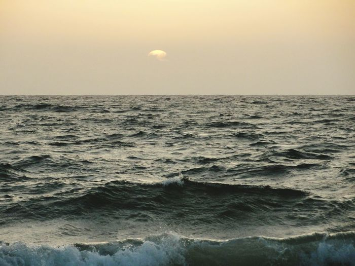 Beauty In Nature Nature Sky Sunset Sea Idyllic Horizon Over Water Tranquil Scene Landscape Water Day No People Outdoors Scenics Tranquility EyeEmNewHere Waves, Ocean, Nature Wave Pattern Tide Coming In