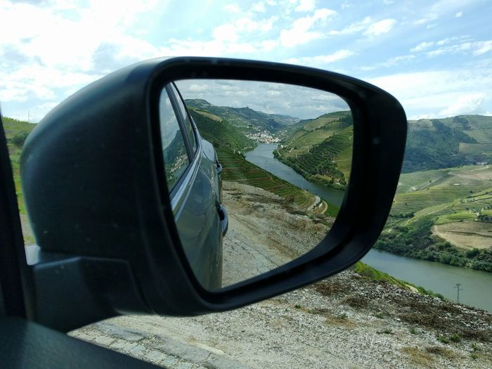 Sky Transportation Travel Cloud - Sky Side-view Mirror Reflection Vehicle Mirror Nature Outdoors Travel Destinations Wineyard Oporto, Portugal Agriculture Nature Water Landscape EyeEmNewHere Douro  Vineyard