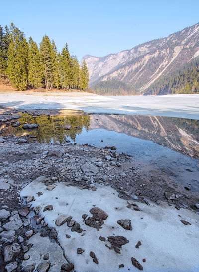Winter and spring 🌸 Landscape Outdoors Water Tree No People Nature Ice Frozen Lake Mountains Forest Mountain Beauty In Nature Trentino Alto Adige Travel Destinations Nature Trentino  Lago Di Tovel