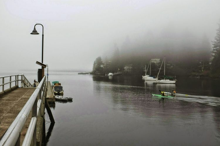 Deep Cove Kayaking Sailboats Foggy Morning Kayakers palls out on the glasslike water, covered by fog.