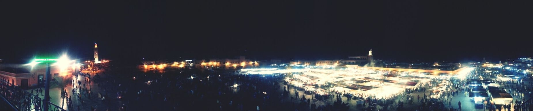Long shot of big square. Marrakesh Market
