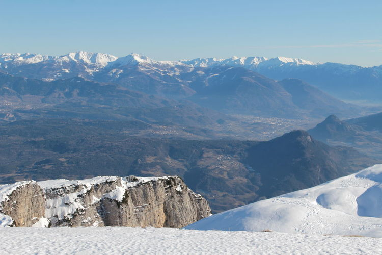 Scenic view of snowcapped mountains against sky in italian alps