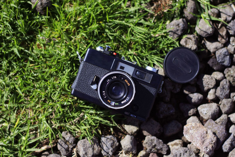 Directly above shot of camera on land