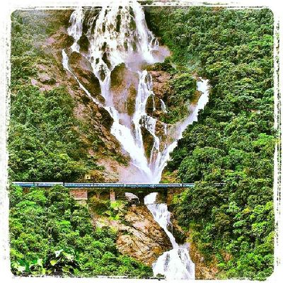 DudhsagarFalls India Incredibleindia Goa Indianrailway Waterfall Beautiful Railwaybridge