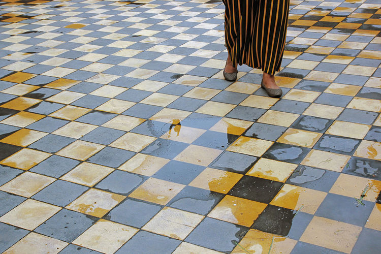 Low section of woman on tiled floor