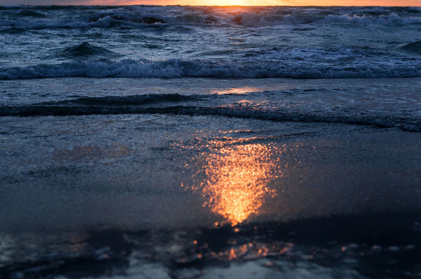 Beach Beauty In Nature Close-up Day Motion Nature No People Outdoors Power In Nature Sea Sunset Water Wave