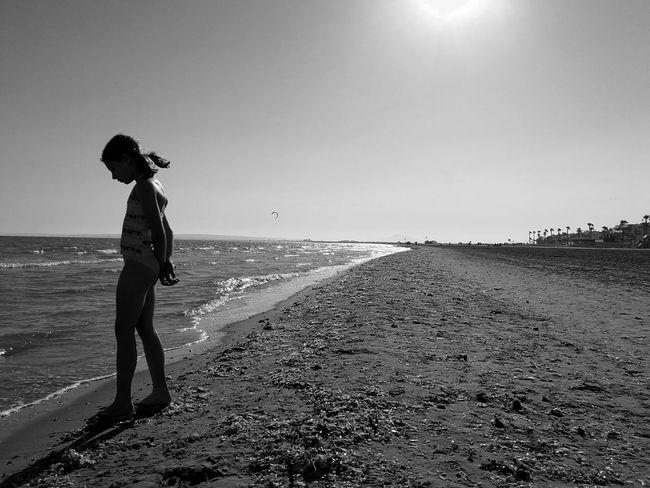 Beach Beach Photography Blackandwhite Black And White Girl Girl On The Shore Girl On The Sea Sea Sea And Sky Silhouette Landscape Perspective Sunset Beach Silhouettes Beach Day Beach Sunset Sand & Sea Sand Horizon Over Water Horizon