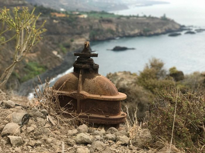Old Bell Tenerife Bell No People Nature Focus On Foreground Plant Day Water Sunlight Sea