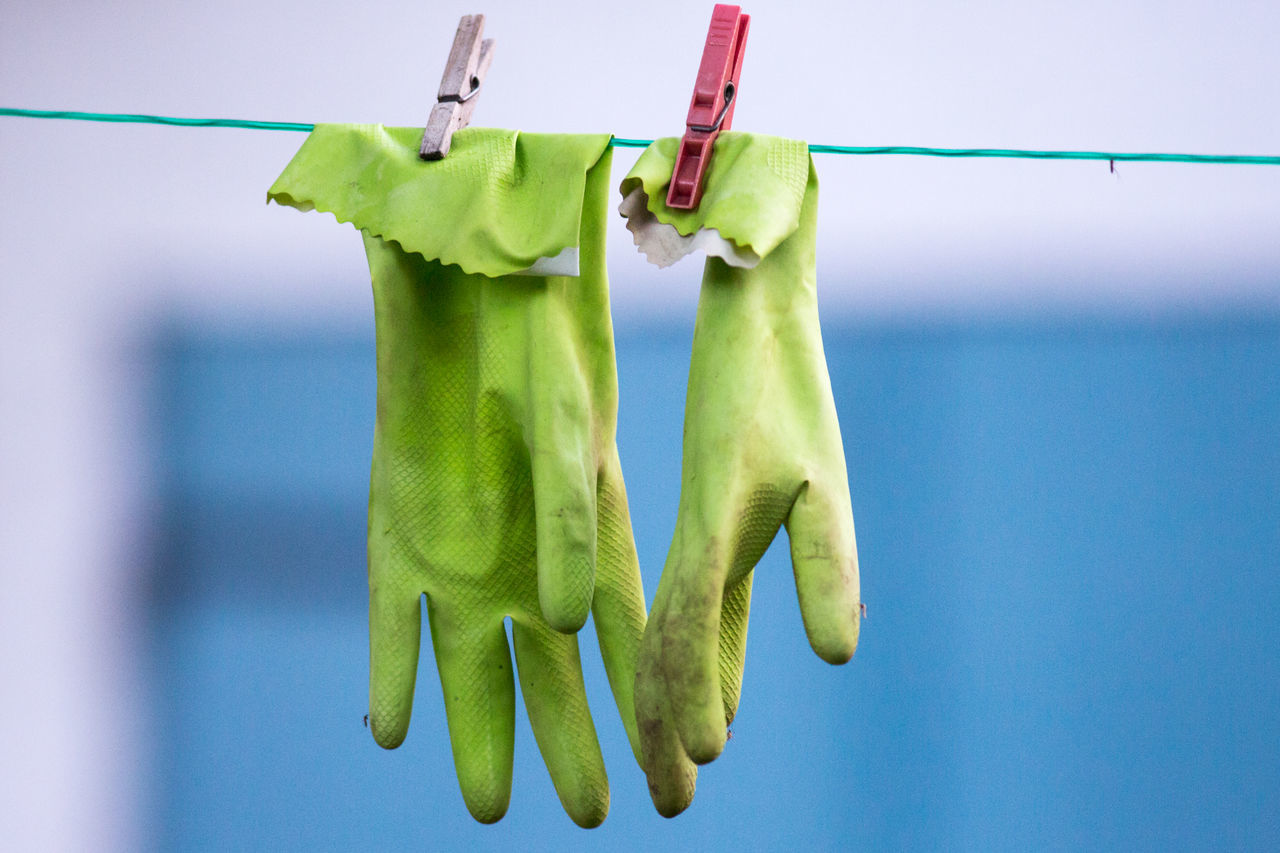 Rubber gloves on clothesline