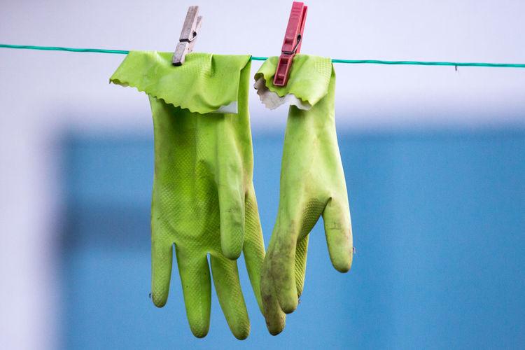 Rubber gloves on clothesline