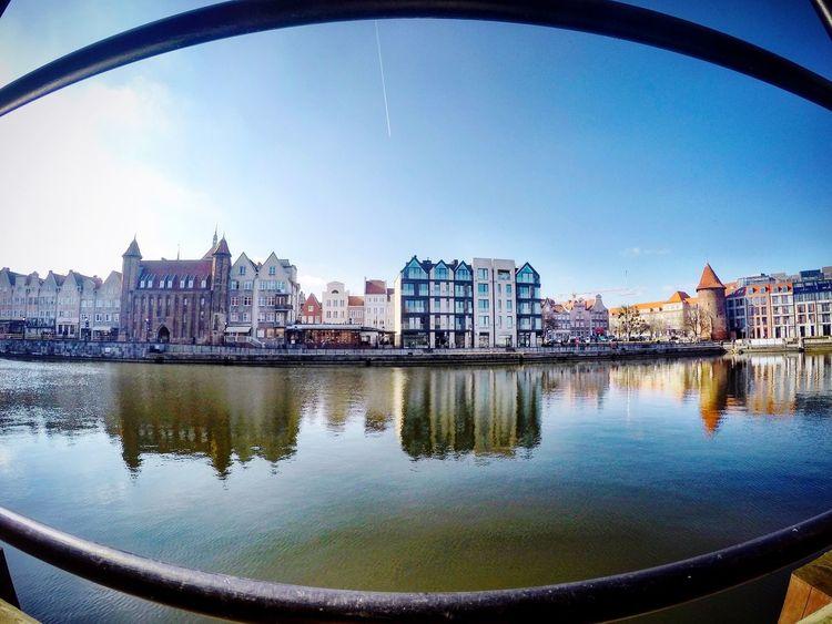 Gdansk Main Town and Hilton Hotel from Ołowianka Island - Motława River Gopro Goprohero4 Beautiful