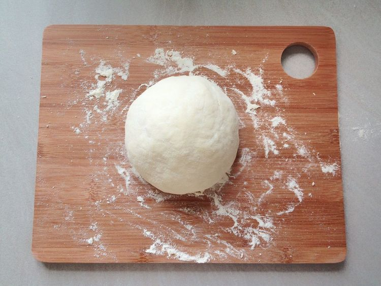 Food Directly Above Food And Drink Preparation  No People Freshness Healthy Eating Close-up Ingredient Homemade Indoors  Day Dough Flour Knead Pizza Ingredients Raw Cooking Aerial View Wood - Material