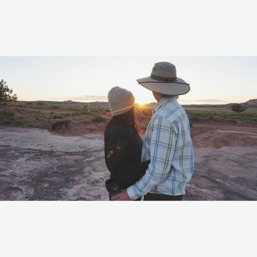 Two People Rear View Togetherness Adult People Sun Hat Remote Outdoors Women Men Couple - Relationship Bonding Lifestyles Day Vacations Utah Deadhorsepoint