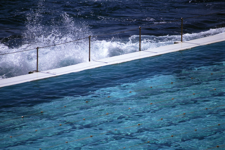 surf club swimming pool at bondi, sydney, australia Australia Bondi Lanes Manmade Ocean Outdoors Pool Poolside Railing Sea Splash Surf Club Swim Swimming Pool Sydney Tidal Water Wave Waves
