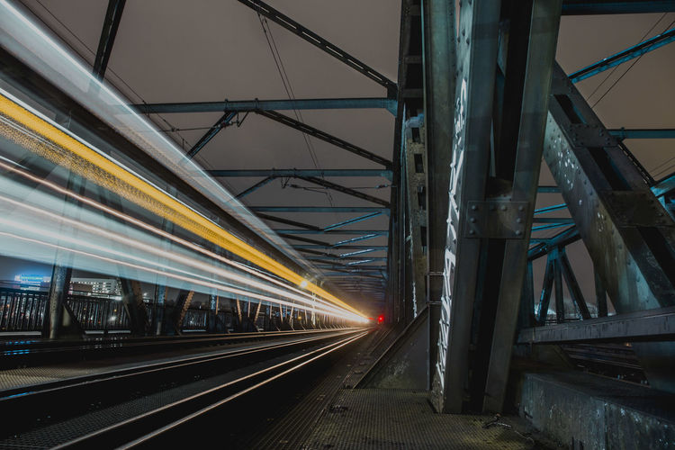 Light trails on railroad tracks in city