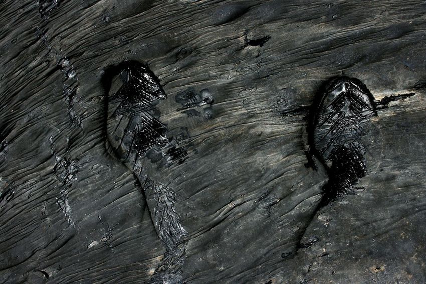 Full Frame No People Nature Close-up High Angle View Bitumen Asphalt Black Mineral Metal Industry Shoeprint Footprints