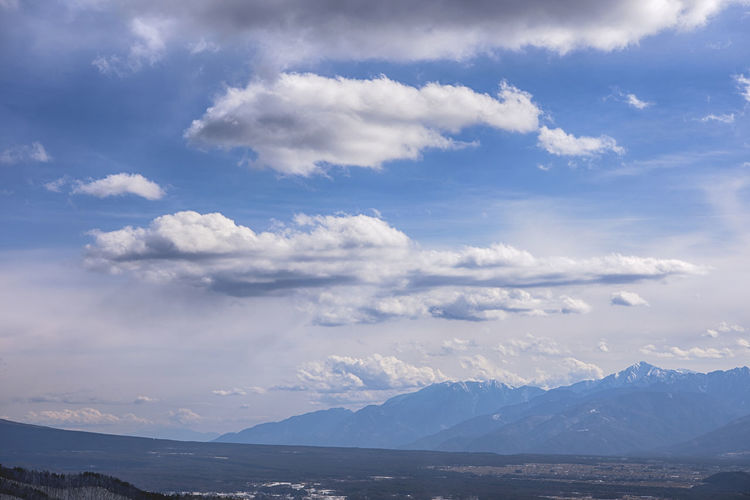 Scenic view of clouds over mountains against sky
