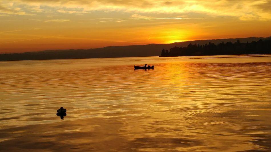 Garda Maderno Orange December Evening Sun Sunset Silhouette Reflection Outdoors People Nature Nautical Vessel Water Cloud - Sky Landscape Lake Sky