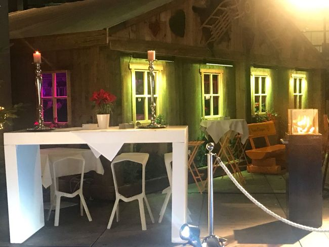 Chilled Xmasdecoration Xmas Christmas Decoration Christmas Lights Nightlife Illuminated Seat Chair Architecture Lighting Equipment Built Structure Table No People Window Plant Flowering Plant Night Indoors  Food And Drink Arrangement Flower Building Nature Absence Glass