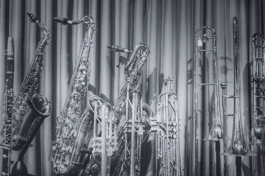Curtain No People Indoors  Day Close-up Musical Instruments Trumpet Trombone Clarinet Saxophone