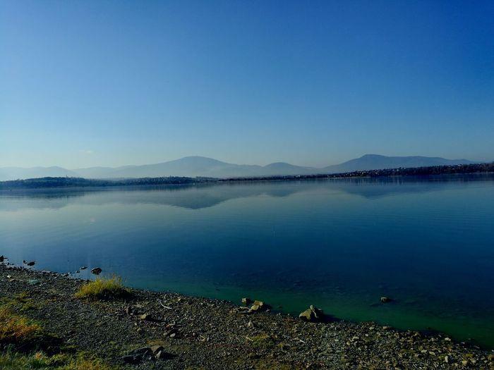 Salt - Mineral Water Clear Sky Mountain Salt Basin Lake Blue Reflection Standing Water Sunset