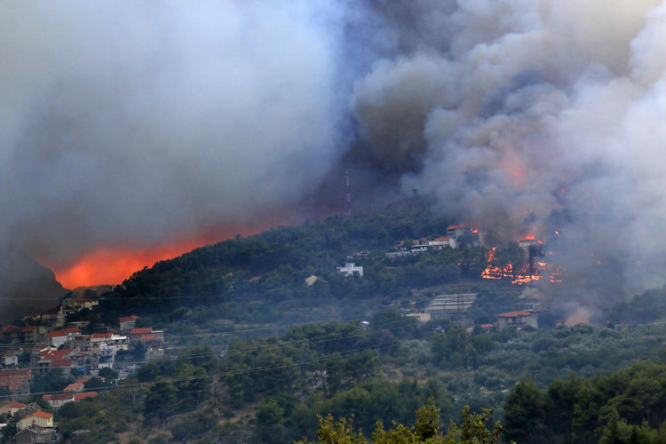 High angle view of fire on mountain