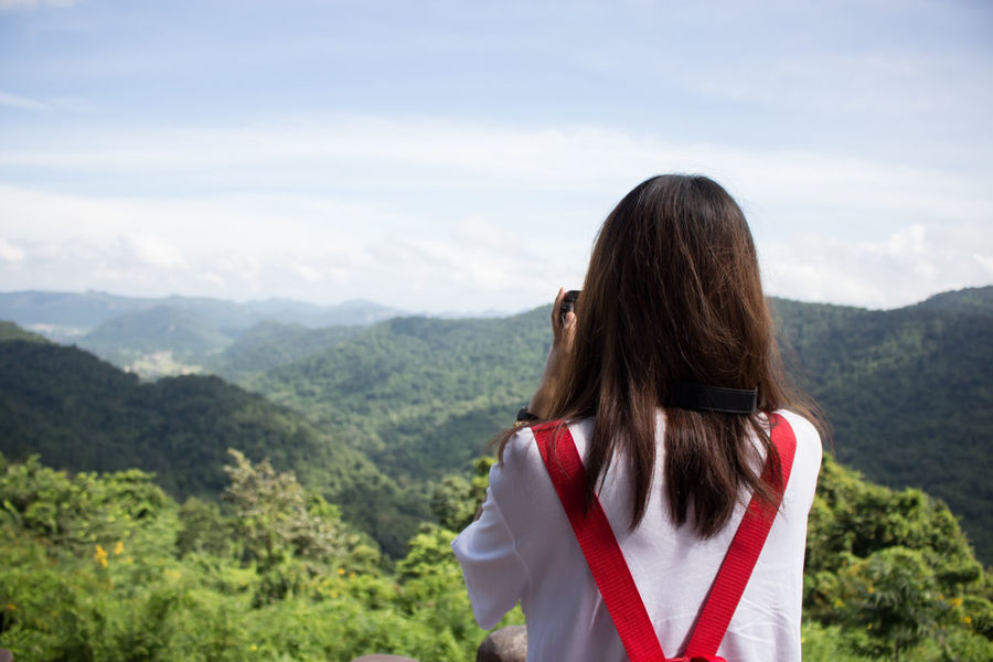 Mountain Only Women Adult One Woman Only Adults Only Long Hair One Person Women Nature Tree Kaoyai forest Mountain Range Headshot Young Adult Outdoors Tranquility Day Vacations Standing Potography Travel Photography Travel Thailandtravel Thailand_allshots