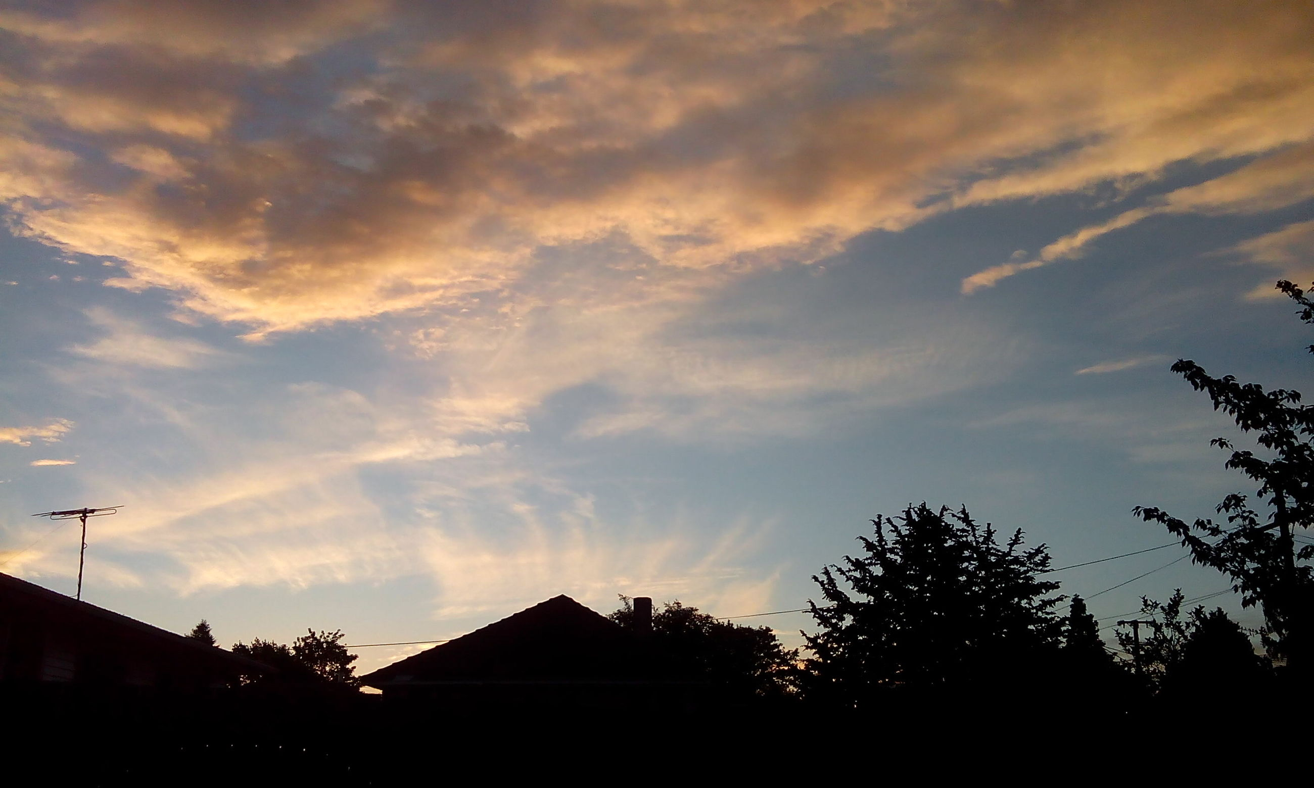 building exterior, architecture, built structure, low angle view, silhouette, sky, tree, sunset, house, cloud - sky, residential structure, high section, residential building, building, cloud, nature, outdoors, dusk, cloudy, no people
