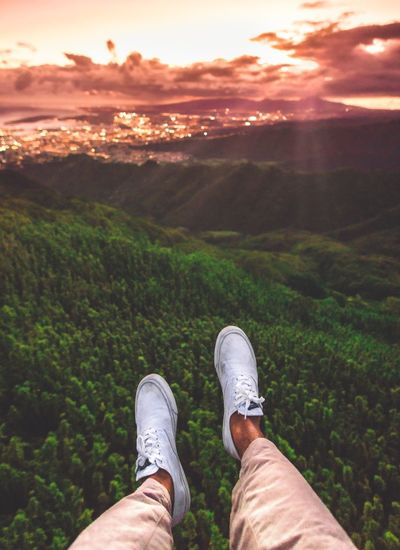 Out Of The Box TOP OF HONOLULU Shoe Human Leg Low Section Mountain One Person Personal Perspective Nature Scenics Human Body Part Real People Sunset Men Beauty In Nature Landscape Outdoors Sky Standing Adventure Day One Man Only Honolulu  Point Of View POV First Person View
