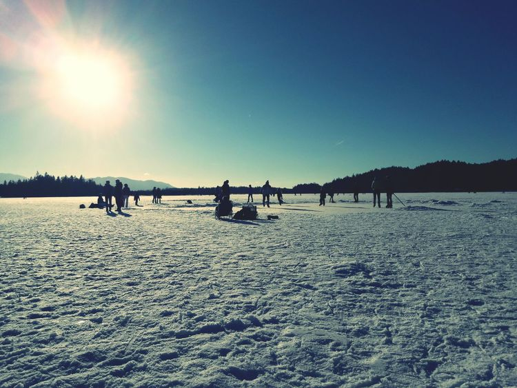 Sky Nature Outdoors Snow Cold Temperature Landscape People Day Kirchsee Sachsenkam Winter Lake Frozen Ice