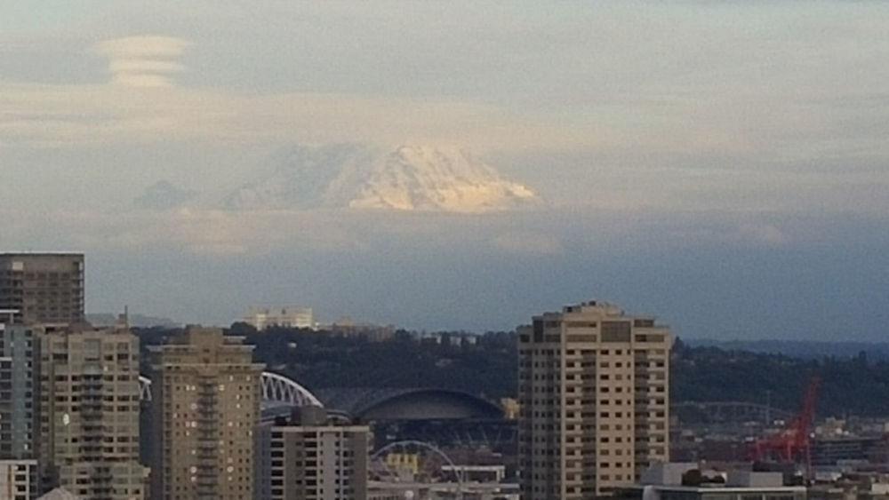 City City And Nature Cloud - Sky Evening Mount Rainier, Washington, Nature, Mountain Mountain In The Sky Sun Sunny Mountain