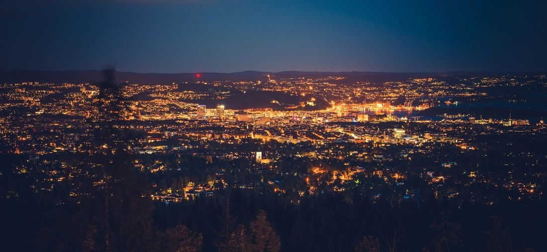 Night in the Oslo Norway. City Panorama. Norway Oslo Architecture City Cityscape Illuminated Nature Night No People Outdoors Sky Travel Destinations