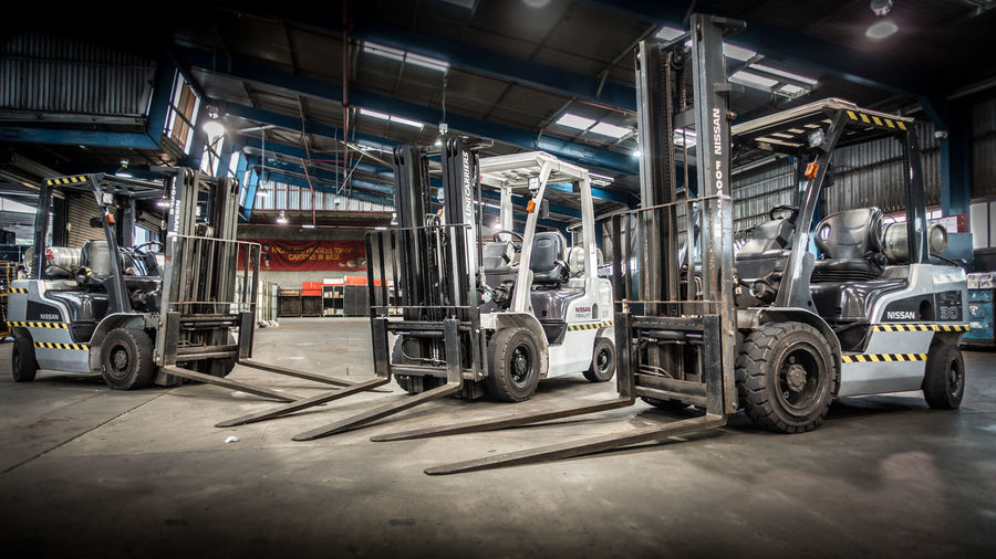 Forklifts Automobile Industry Built Structure Day Depot Factory Forklift Freight Indoors  Industrial Industry Land Vehicle Logistics Metal Industry Mode Of Transport No People Transportation