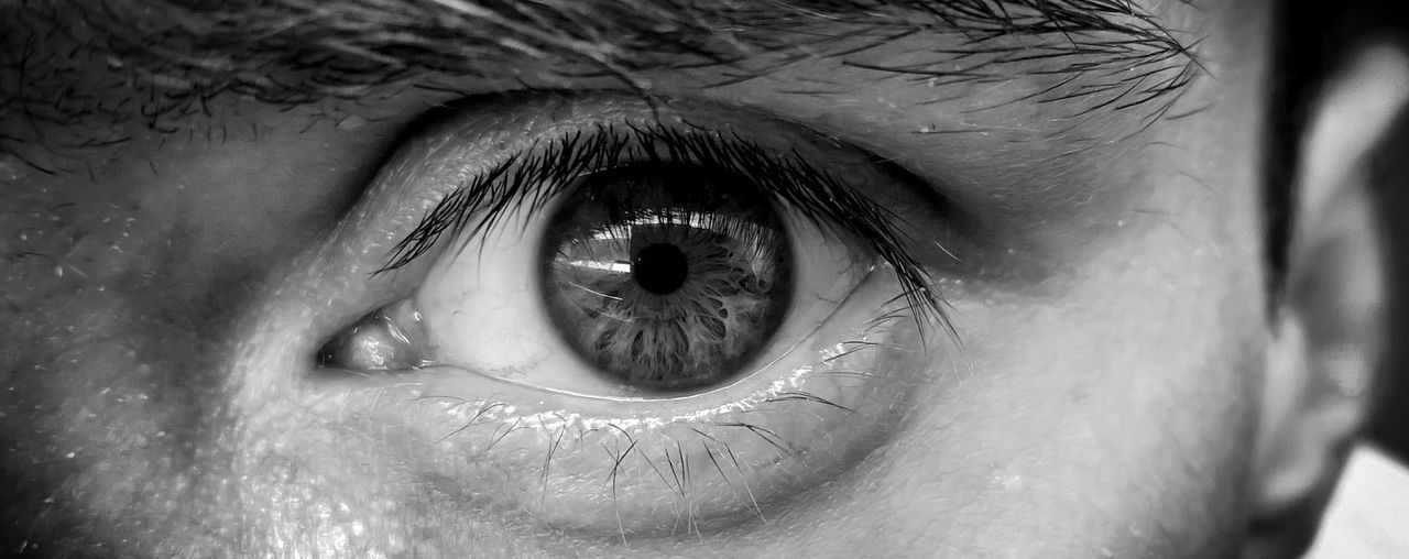 Blackandwhite Bnw Close-up Cropped Detail Extreme Close Up Extreme Close-up Eye Eyeball EyeEm EyeEm Best Shots Eyelash Eyesight Headshot Human Eye Human Face Human Skin Iris - Eye Leisure Activity Lifestyles Macro Part Of Portrait Sensory Perception Unrecognizable Person Black And White Friday EyeEm Ready