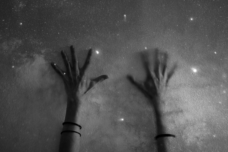 Human hands in black and white